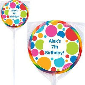 Polka Dot Party Personalized Lollipops (pack of 12)
