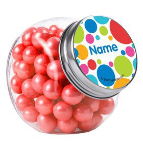 Polka Dot Party Personalized Plain Glass Jars (12 Count)