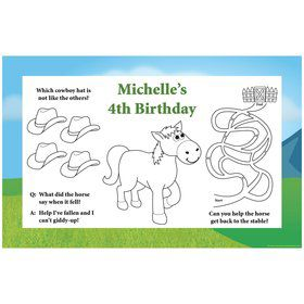 Pony Party Personalized Activity Mats (8-Pack)