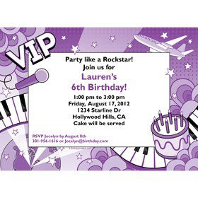 Pop Star Personalized Invitation (each)