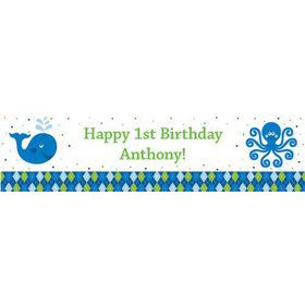 Preppy Blue Ocean Party Personalized Banner (each)