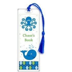 Preppy Blue Ocean Party Personalized Bookmark (each)