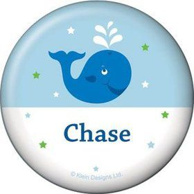 Preppy Blue Ocean Party Personalized Button (each)
