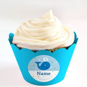 Preppy Blue Ocean Party Personalized Cupcake Wrappers (Set of 24)