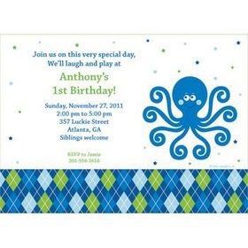Preppy Blue Ocean Party Personalized Invitation (each)