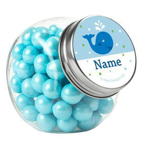 Preppy Blue Ocean Party Personalized Plain Glass Jars (10 Count)