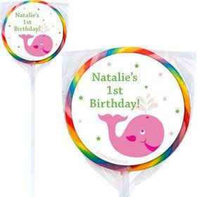 Preppy Pink Party Personalized Lollipops (pack of 12)