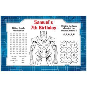 Prime Robot Personalized Activity Mat (8 pack)