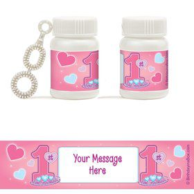 Princess 1st Birthday Personalized Bubbles (18 Pack)
