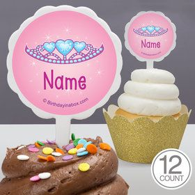 Princess 1St Birthday Personalized Cupcake Picks (12 Count)
