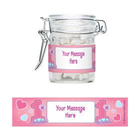 Princess 1St Birthday Personalized Glass Apothecary Jars (12 Count)
