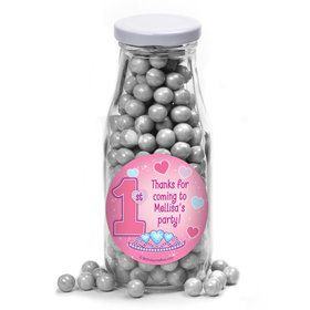 Princess 1St Birthday Personalized Glass Milk Bottles (12 Count)