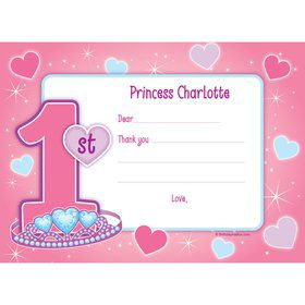 Princess 1st Birthday Personalized Thank You Note (each)