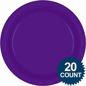 "Purple 10"" Plastic Dinner Plates (20 Pack)"