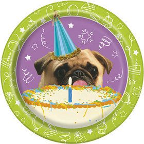 "Pug Puppy Birthday 7"" Plates (8)"