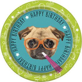 "Pug Puppy Birthday 9"" Plates (8)"