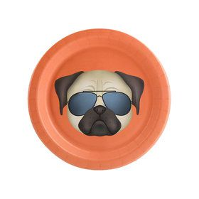 Puppy Dog Paw-ty Coral Pug Dessert Plate (8)
