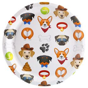 Puppy Dog Paw-ty White Toss Dinner Plate (8)