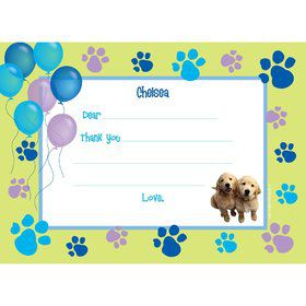 Puppy Party Personalized Thank You Note (each)