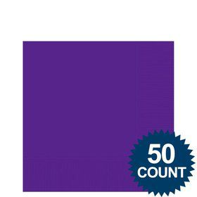 Purple 2-Ply Beverage Napkins, 50ct.