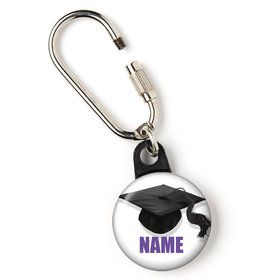 "Purple Caps Off Graduation Personalized 1"" Carabiner (Each)"