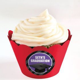 Purple Caps Off Graduation Personalized Cupcake Wrappers (Set of 24)