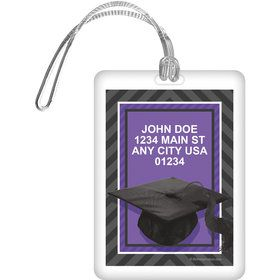 Purple Caps Off Graduation Personalized Luggage Tag (Each)