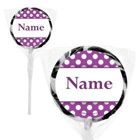 "Purple Dots Personalized 2"" Lollipops (20 Pack)"