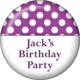 Purple Dots Personalized Button (Each)