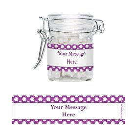 Purple Dots Personalized Glass Apothecary Jars (10 Count)
