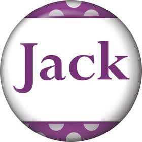 Purple Dots Personalized Mini Magnet (Each)