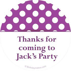 Purple Dots Personalized Stickers (Sheet of 12)