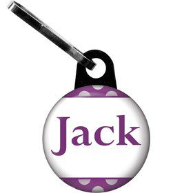 Purple Dots Personalized Zipper Pull (Each)