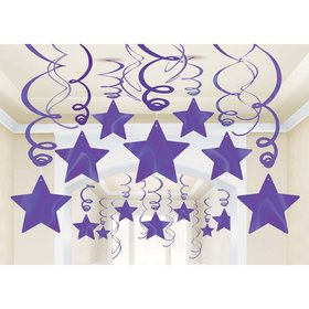 Purple Foil Star Hanging Decorations (30 Count)