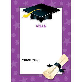 Purple Graduation Personalized Thank You (Each)