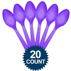 Purple Plastic Spoons (20 Pack)