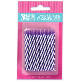 Purple Stripe Birthday Candles (24)