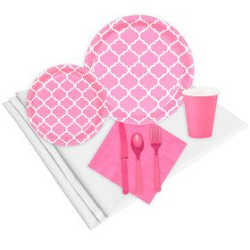 Quatrefoil Candy Pink Party Pack