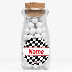 "Racing Flag Personalized 4"" Glass Milk Jars (Set of 12)"