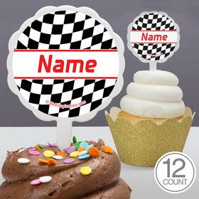 Racing Flag Personalized Cupcake Picks (12 Count)