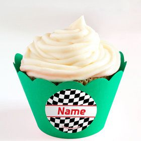 Racing Flag Personalized Cupcake Wrappers (Set of 24)