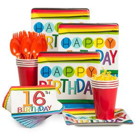 Rainbow 16th Birthday Standard Tableware Kit (Serves 8)