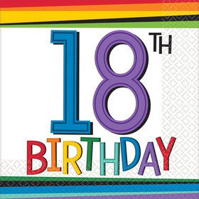 Rainbow 18th Birthday Beverage Napkins (16 Count)