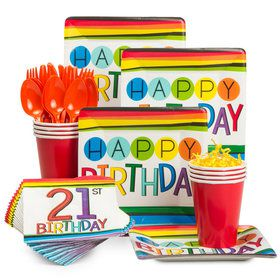 Rainbow 21st Birthday Standard Tableware Kit (Serves 8)