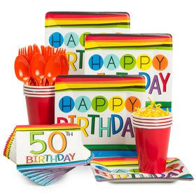 Rainbow 50th Birthday Standard Tableware Kit (Serves 8)