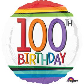 "Rainbow Birthday 100th Birthday 17"" Balloon (Each)"