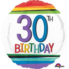"Rainbow Birthday 30th Birthday 17"" Balloon (Each)"