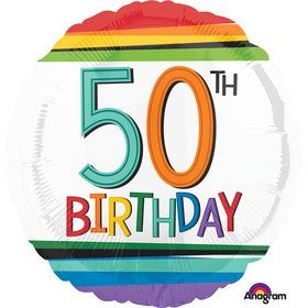"Rainbow Birthday 50th Birthday 17"" Balloon (Each)"