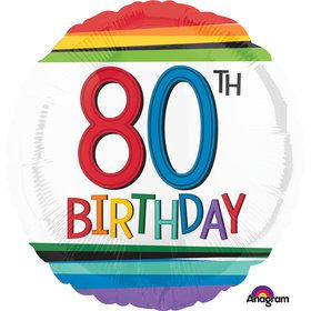 "Rainbow Birthday 80th Birthday 17"" Balloon (Each)"