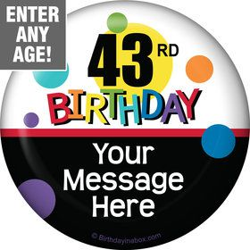 Rainbow Birthday Add-Any-Age Personalized Button (Each)